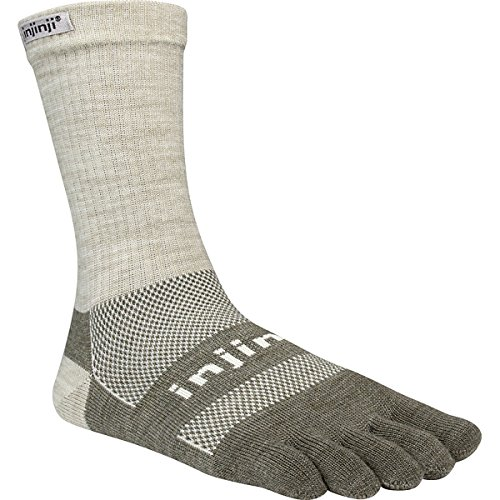 Injinji 2.0 Outdoor Original Weight Crew Nuwwol Socks, Oatmeal, Medium