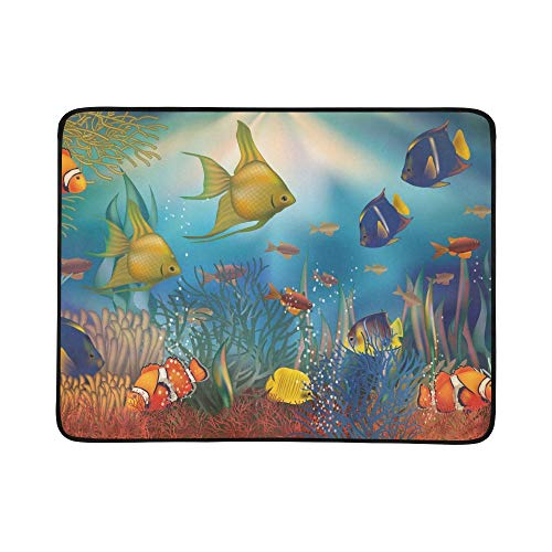 ZXWXNLA Underwater Background with Tropical Fish Vector I Pattern Portable and Foldable Blanket Mat 60x78 Inch Handy Mat for Camping Picnic Beach Indoor Outdoor Travel