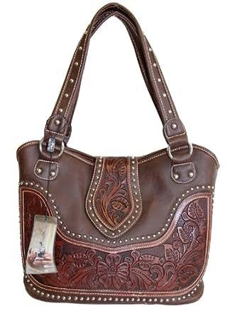 Montana West Ladies Concealed Gun Handbag Tooled Genuine Leather Dark Brown