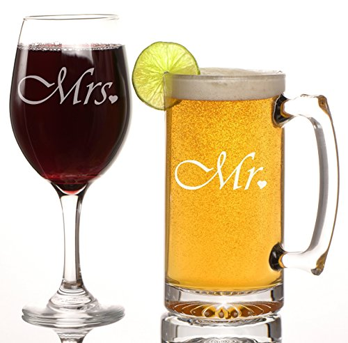 Mr. and Mrs. Beer Mug and Wine Glass Gift Set, Great Gift for Wedding, Anniversary, Couple's Gift, Engagements, Bridal Shower, His and Hers, Novelty glasses, Toasting glasses, Wedding glasses