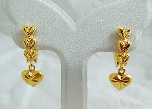 18k 22k Gold Stud Earrings (Heart 18k 22k 24k Thai Baht Yellow Gold Plated Filled Earrings)
