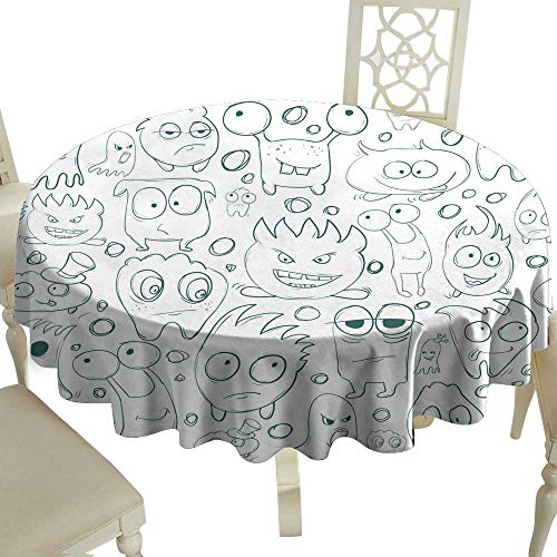 Oil-proof and leak-proof tablecloth Seamless background contour funny monsters for Halloween holiday or your design It can be used childrens books with fairy tales Vector Indoor Outdoor Camping Picni]()
