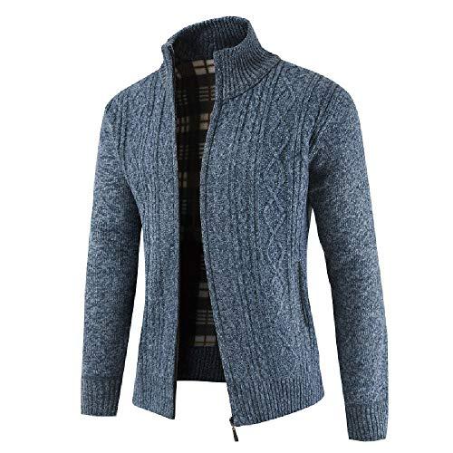 Fashion Men's Autumn Winter Casaul Zipper Jacket Knit Cardigan Long Sleeve Coat