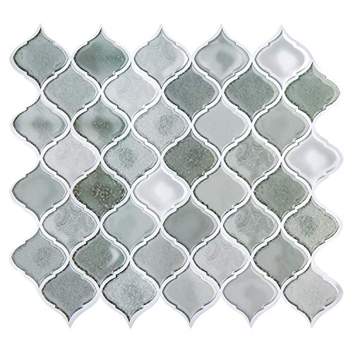 Grey Peel and Stick Tile Backsplash for Kitchen,Mexcian Stick on Tiles for Backsplash,Decorative Wall Tiles,Smart Tiles Peel and Stick Backsplash Stickers(6 Sheets)