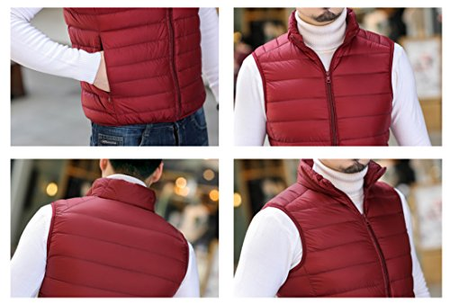 Down Coat Vest Men's Lightweight Quibine Red Outdoor Warm Dark PH7Wq