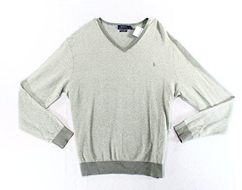Polo Ralph Lauren Mens Herringbone Monogram V-Neck Sweater Gray XL
