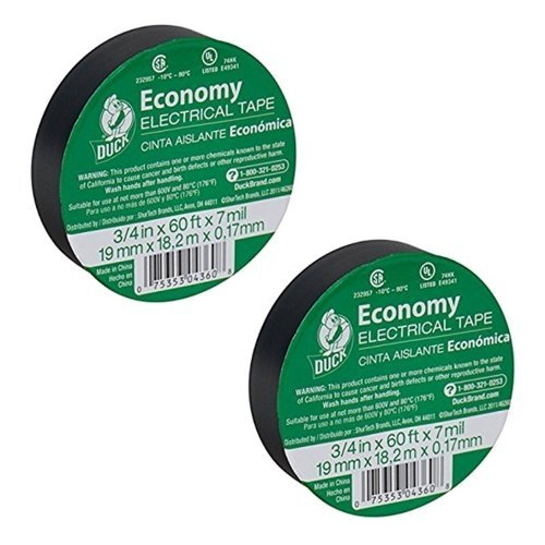 Duck Brand 299006 3/4-Inch by 60 Feet Utility Vinyl Electrical Tape with Single Roll, Black (2)