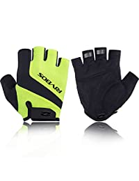 RIVBOS Bike Gloves Cycling Gloves Fingerless for Men Women with Foam Padding Breathable Mesh Fashion Design for Motorcycle Bicycle Mountain Riding Driving Sports Outdoors Exercise CHG004(Yellow M)