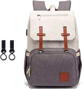 Diaper Bag Backpack, Mastery Baby Maternity Nappy Changing Bags Multifunction Waterproof Travel Back Pack with Stroller Straps, Unisex and Stylish (Grey & White)