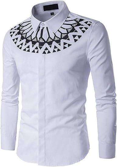 Yvelands Camiseta a Rayas de Moda Hombres Camisa de Moda Camisa Impresión Hombre Estampada Floral Manga Larga Vestir Casual: Amazon.es: Ropa y accesorios
