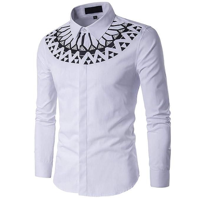 Yvelands Camiseta a Rayas de Moda Hombres Camisa de Moda Camisa Impresión  Hombre Estampada Floral Manga Larga Vestir Casual  Amazon.es  Ropa y  accesorios f5440bea74c