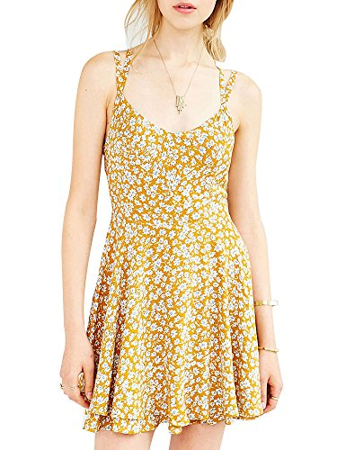 Print Strappy Dress (Women's Strappy Open Back Floral Print Flare Skater Chiffon Dress Yellow CN S - US)