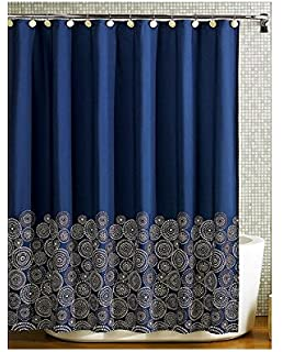 Navy Blue Fabric Shower Curtain Amazon com  Gear New Elegant Black And Yellow Gold