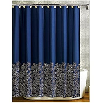 dark blue shower curtain. Navy Blue Fabric Shower Curtain Amazon com  Lush Decor Geo 72 Inches X