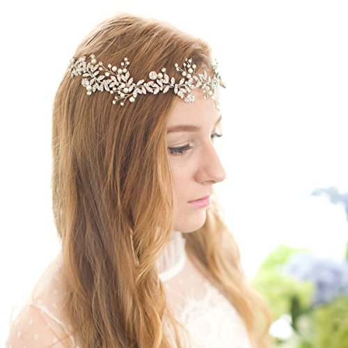 Remedios Handmade Vintage Silver Crystal Pearl Bridal Headband Wedding Hair Pieces