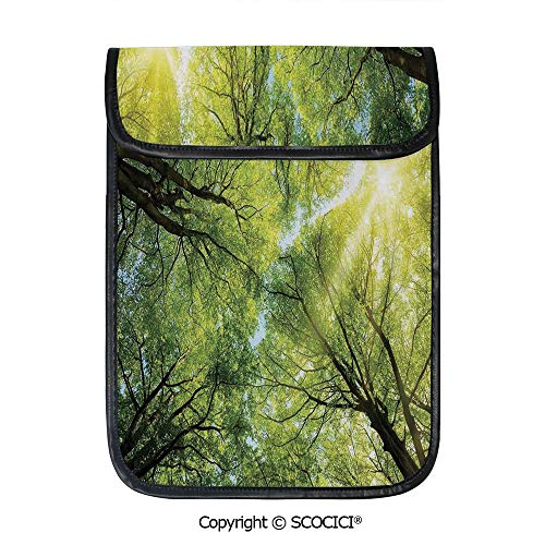 SCOCICI Tablet Sleeve Bag Case,The Warm Spring Sun Through The Canopy of Tall Beech Trees Romantic Scene,Pouch Cover Cases for iPad Pro 12.9 in and Any Tablet