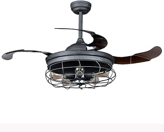 JYKJ Ventilador De Techo Colgante Ventilador Retro De 42 Pulgadas Ventilador Industrial 5 Luces De Araña con Soporte Telescópico, Control Remoto: Amazon.es: Hogar