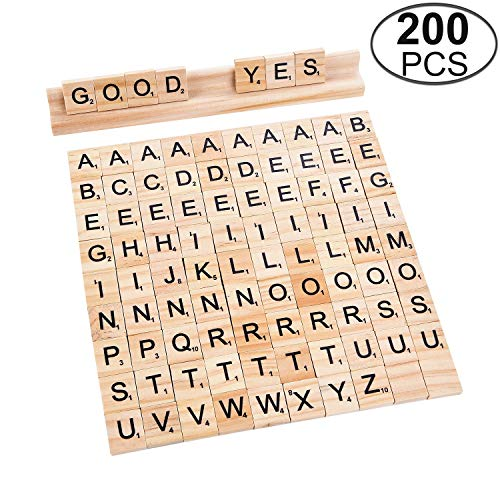TMO 200 Scrabble Tiles Wooden Scrabble Block Set Scrabble Letters Wood Scrabble Tiles Alphabet Toy Tile Games 1 Tiles Rack Crafts, Pendants ()