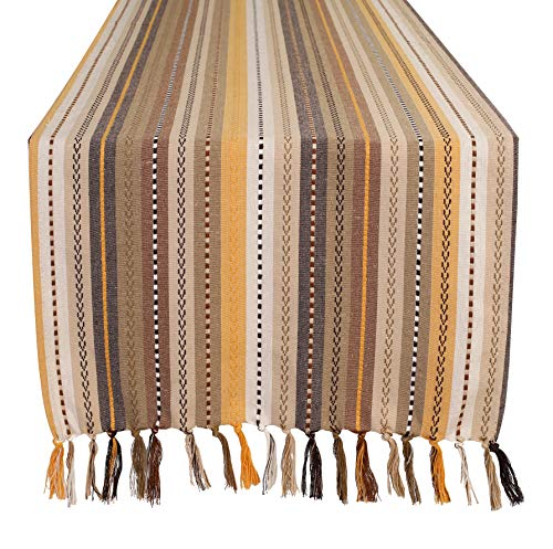 Salsa Stripe Hand Knotted Fringe Oversized Table Runner - 18x72 - Natural Multi - 100% Cotton - Hand Woven by Skilled artisans - Hand Knotted Decorative Fringes - Set of 2 (Knotted Hand Natural)