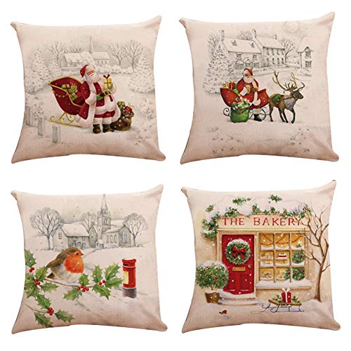 Decroitem Merry Christmas Santa Claus and Elk Pillow Covers Cotton Linen Home Decor Throw Pillow Case Cushion Cover for Sofa Couch Bed 18