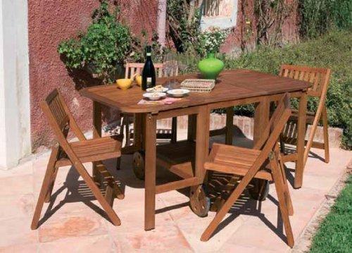 Sedie Legno Da Giardino.Tavolo Apribile In Legno Da Giardino Per Esterno Con 4 Sedie