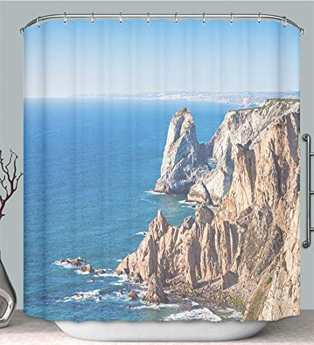 Shower Curtain Cape Roca Portugal Multi-Color,Fabric Shower Curtain Decoration Bathtub Bathroom Accessories with Hook