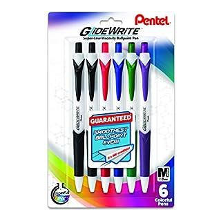 Pentel GlideWrite Ballpoint Pen with TechniFlo Ink, (1.0mm) Medium Line, Assorted Ink (2A/B/C/D/V), 6-Pk (BX910BP6M1), Assorted 1