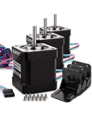 Quimat Nema 17 Stepper Motor Bipolar 2A 0.59Nm(84oz.in) 46mm Body 4-Lead w/1m Cable & Connector And Mounting Bracket Kit for 3D Printer/CNC