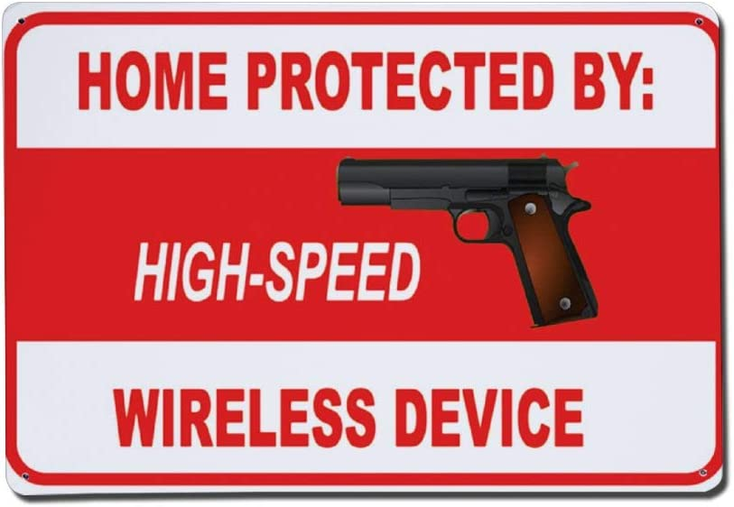 43LenaJon Home Protected High Speed Wireless Device Metal Sign,Custom Sunny Warning Safety Street Aluminum Sign,Warning Road Danger Sign,Functional Directivity Symbol,Wall Decor