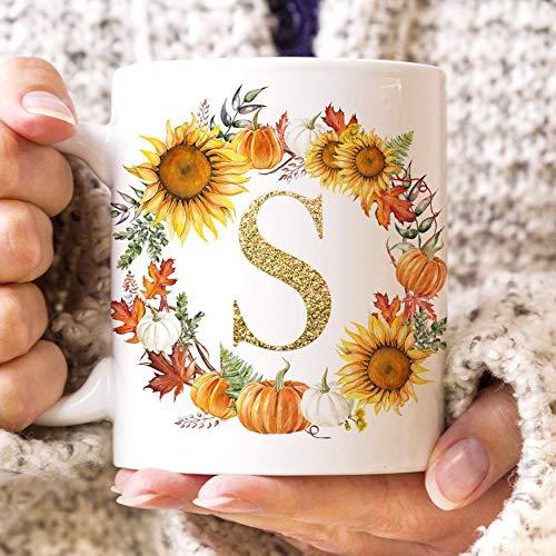 The Foxy Mug Personalized Coffee Mug Autumn Flowers Monogram Ceramic Cup]()