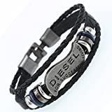 Nusthamon DGW Multilayer Diesel Bracelet Men Casual Fashion Braided Leather Bracelets Women Wood Bead Bracelet Punk Rock Men Jewelry