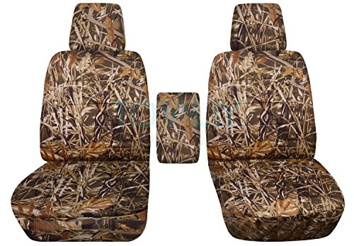 2004-2008 Ford F-150 Camo Truck Bucket Seat Covers with Center Armrest, w/wo Integrated Seat Belts: Wetland Camouflage (16 Prints) 2005 2006 2007 F-Series F150 Front