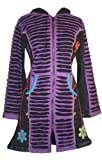 Agan Traders 323 Embroidered Long Cotton Bohemian Insulated Jacket Coat (XXL, Purple)