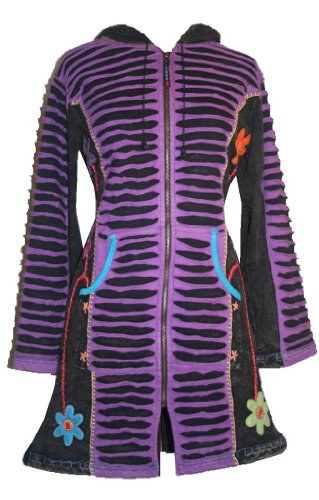 Agan Traders 323 Embroidered Long Cotton Bohemian Insulated Jacket Coat (XXL, Purple) by Agan Traders