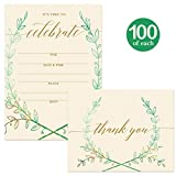 All Occasion Invitations ( 100 ) & Matching Thank You Cards Set ( 100 ) with Envelopes Large Office Birthday Retirement Party Wreath Write-in Guest Invites & Folded Thank You Notes Best Value Pair