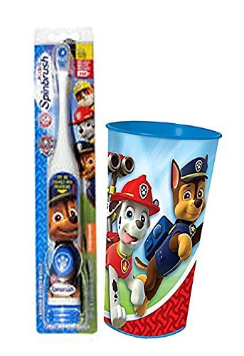 "Paw Patrol ""Chase Inspired"" 2pc. Bright Smile Oral Hygiene Set! (1) Paw Patrol Turbo Power Spin Toothbrush Batteries Included Plus Paw Patrol Mouth Wash Rinse Cup!"