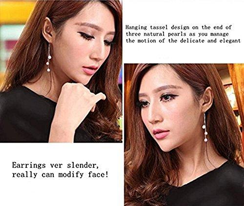 Vormor Argent sterling 925trois couleurs 7-7,5mm pendantes Perle de Coquillage Boucles d'oreilles