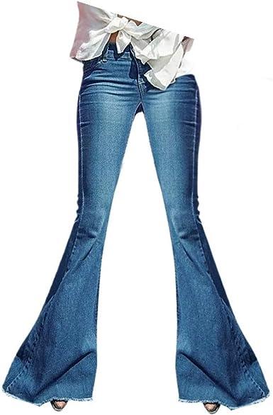 Myona Mujer Pantalones Anchos Vaqueros Pantalones De Mezclilla Largos Cintura Alta Flacas Pantalones Elastico Jeans Skinny Fit Acampanados De Campana Pantalones Denim Mezclilla Leggings Suave Casual Amazon Es Ropa Y Accesorios