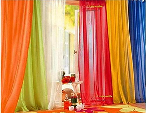 Rainbow Window - 6 Piece Rainbow Sheer Window Panel Curtain Set Blow Out Pprice Special!!!! Lime, Orange, Red, White, Bright Yellow, Navy