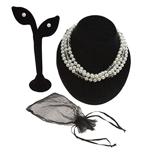 "Shell Pearl Necklace 48"" Long Slip-Over & Stud Earring Set Demi Parure Flapper (Oyster Costume)"
