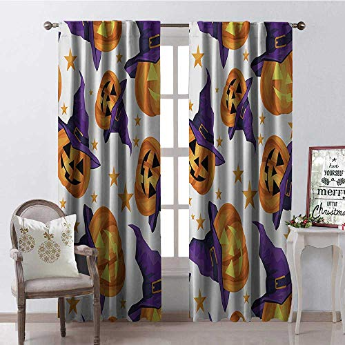 Hengshu Halloween Witch Hat Pumpk 9 Room Darkening Wide Curtains Waterproof Window Curtain W72 x -