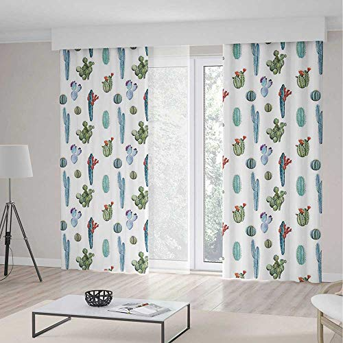 iPrint Cactus Decor Long Curtains,Watercolor Cactus Plant Im