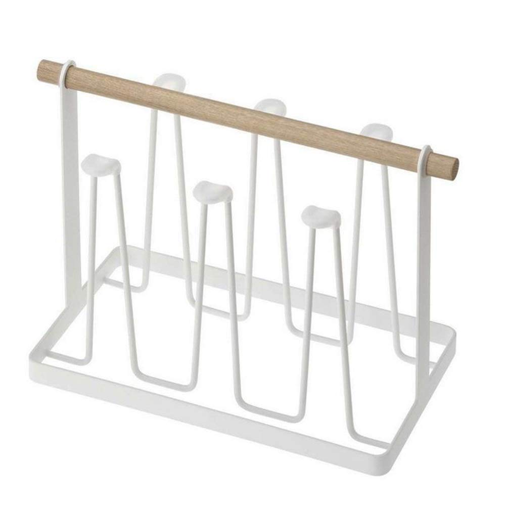 Qwer Cup Rack Kitchen Rack Storage Wood Drain Wood Handle Water Hanging Cup Holder by Qwer