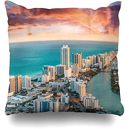 Throw Pillow Cover Cushion Case Square 18x18 Inch Oceanfront Blue American Helicopter View South Beach Miami USA Nature Parks Skyline Aerial America Bay Home Decor