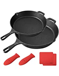 """BAYKA Cast Iron Skillet  Pre-seasoned 10"""" & 12"""" Cast Iron Pans with 2 Heat-Resistant Holders & 2 Silicone Mats Oven Grill Stovetop Induction Safe Cookware Great for Sautes and Stir Fry"""