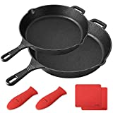 BAYKA Cast Iron Skillet  Pre-seasoned 10' & 12' Cast Iron Pans with 2 Heat-Resistant Holders & 2 Silicone Mats Oven Grill Stovetop Induction Safe Cookware Great for Sautes and Stir Fry