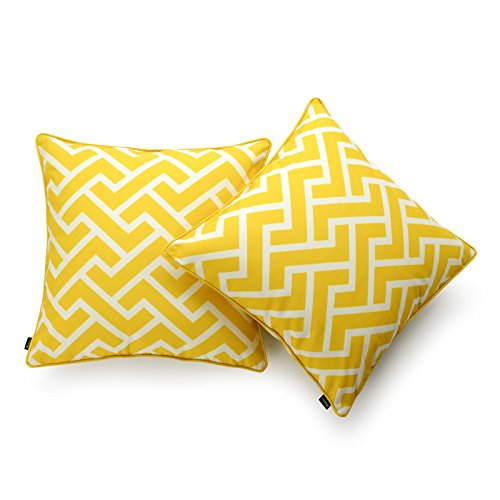 (Hofdeco Decorative Throw Pillow Cover INDOOR OUTDOOR WATER RESISTANT Canvas Vibrant Yellow City Maze 18