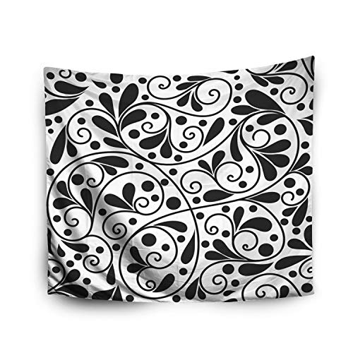 (Space Tapestry,Jacrane Art Tapestries With 80X60 Inches Black White Stylized Leaf Pattern Ornament Floral Pattern Paisley Elements Great Fabric Textile Wallpaper For Dorm Bedroom Living Home Decor )
