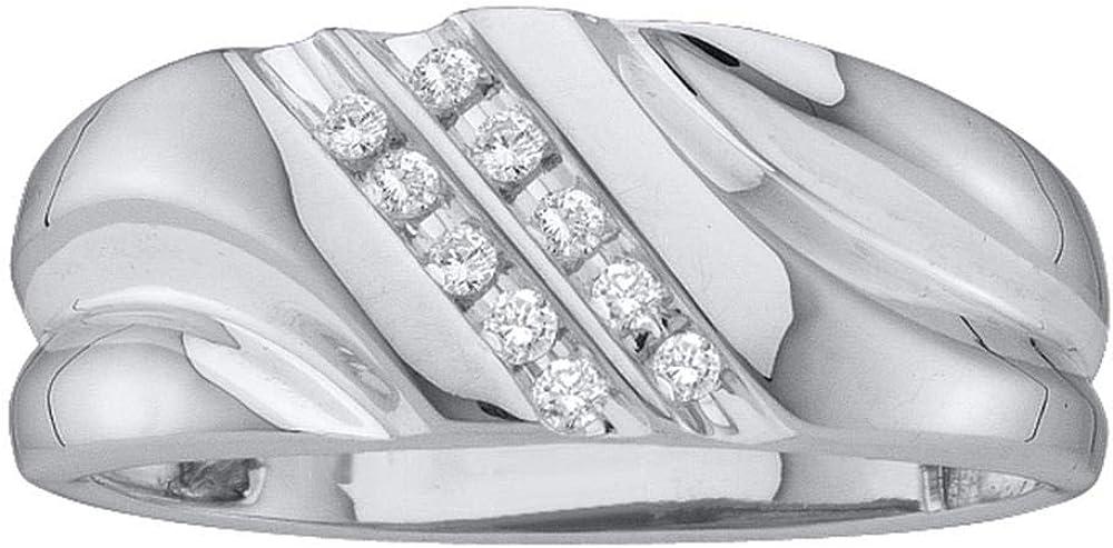 1//8 Cttw 10kt White Gold Mens Round Diamond 2-row Wedding Anniversary Band Ring
