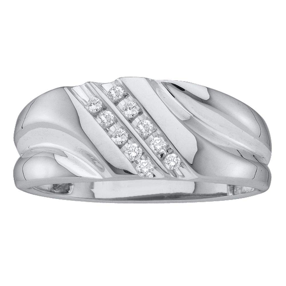 I2-I3 clarity; J-K color Jewels By Lux 10kt White Gold Mens Round Diamond 2-row Wedding Anniversary Band Ring 1//8 Cttw In Channel Setting
